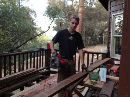 Nathan builds the deck