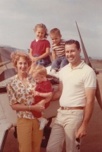 Nancy and family when she soloed the Taylorcraft